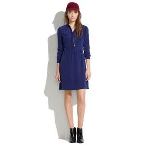 Madewell Silk Cinema Mini Dress 12 Blue Black